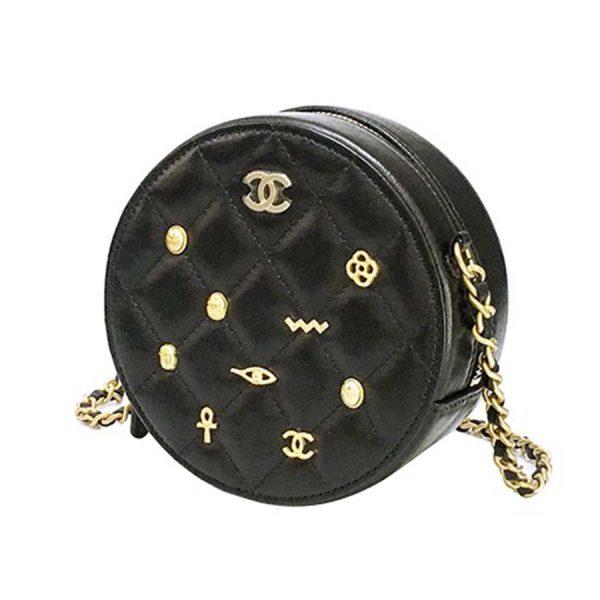Chanel Women Badge Small Round Crossbody Shoulder Bag in Calfskin Leather-Black