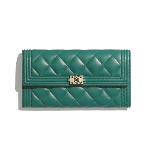 Chanel Women Boy Chanel Long Flap Wallet in Lambskin Leather-Green
