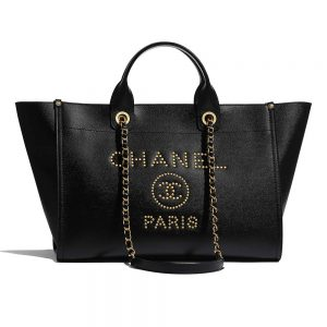 Chanel Women Chanel's Large Tote Shopping Bag in Grained Calfskin Leather-Black