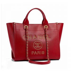 Chanel Women Chanel's Large Tote Shopping Bag in Grained Calfskin Leather-Red