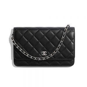 Chanel Women Classic Wallet On Chain in Lambskin Leather-Black