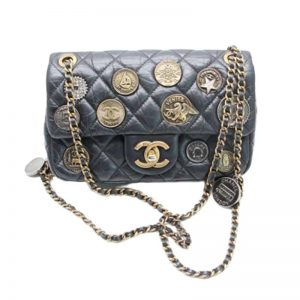 Chanel Women Copper Coin Badge Chain Bag in Goatskin Leather-Black