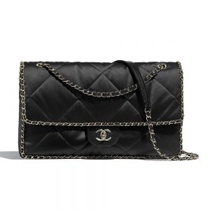 Chanel Women Flap Bag in Satin Leather-Black