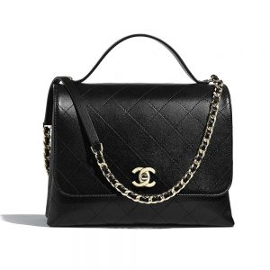 Chanel Women Flap Bag with Top Handle in Calfskin-Black