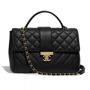 Chanel Women Flap Bag with Top Handle in Calfskin Leather-Black