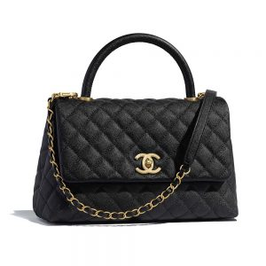 Chanel Women Flap Bag with Top Handle in Grained Calfskin Leather-Black