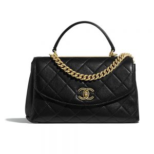 Chanel Women Flap Bag with Top Handle in Lambskin-Black