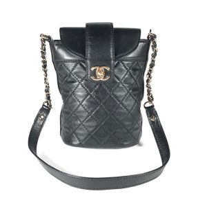 Chanel Women Hippie Backpack Bag in Calfskin Leather-Black