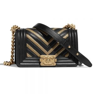 Chanel Women Small Boy Chanel Handbag in Metallic Lambskin Leather-Black and Gold