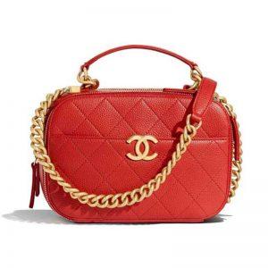Chanel Women Vanity Case in Embossed Grained Calfskin Metal Chain-Red