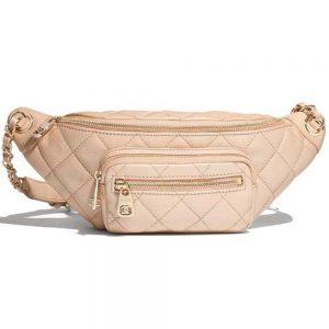 Chanel Women Waist Bag in Grained Embossed Calfskin Leather-Beige