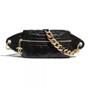 Chanel Women Waist Bag in Lambskin Leather-Black