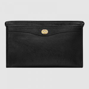 Gucci GG Men Pouch with Interlocking Bag in Black Soft Leather