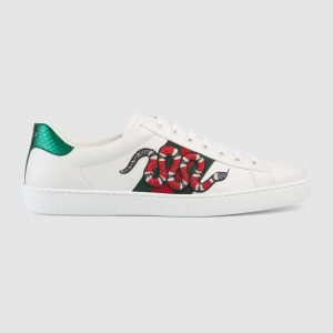 Gucci Men Ace Embroidered Sneaker with Embroidered Kingsnake Appliqué-White