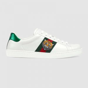 Gucci Men Ace Embroidered Sneaker with Embroidered Tiger Appliqué-White