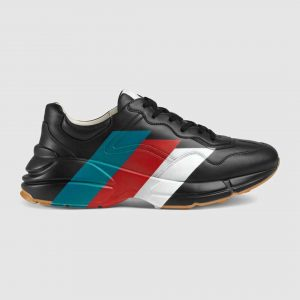 Gucci Men Rhyton Web Print Leather Sneaker in 5.1 cm Height-Black