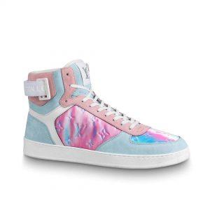 Louis Vuitton LV Unisex Rivoli Sneaker Boot Shoes Blue and Pink