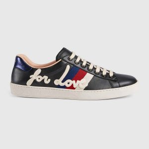 Gucci Men Ace Embroidered Sneaker Shoes in Leather with Sylvie Web-Black
