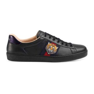 Gucci Men Ace Embroidered Sneaker Shoes with Tiger Web-Black