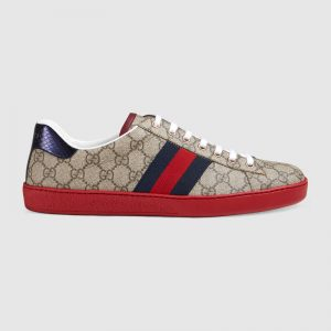 Gucci Men Ace GG Supreme Canvas Sneaker Shoes-Red