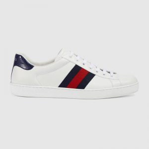 Gucci Men Ace Low-top Sneaker Shoes in Leather with Web-Navy