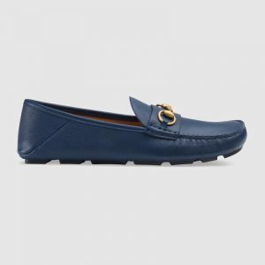 Gucci Men Leather Driver with Horsebit-Navy