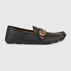 Gucci Men Leather Driver with Web-Black