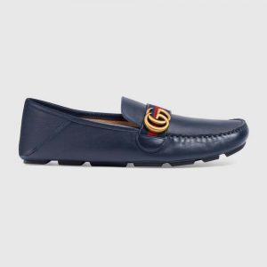 Gucci Men Leather Driver with Web-Navy