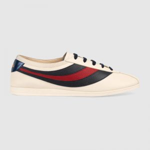 Gucci Men Leather Low-Top Sneaker Shoes with Web Stripe-White