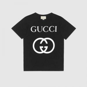 Gucci Men Oversize T-Shirt with Interlocking G-Black