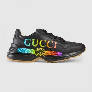 Gucci Men Rhyton Leather Sneaker with Gucci Logo in 5.1 cm Height-Black