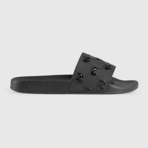 Gucci Men's Rubber GG Slide Sandal-Black