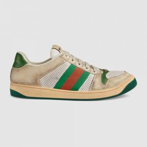 Gucci Men Screener Leather Sneaker 3.6cm Height-Green