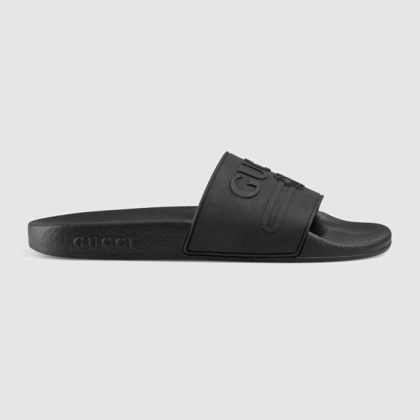 Gucci Unisex Gucci Logo Rubber Slide Sandal-Black