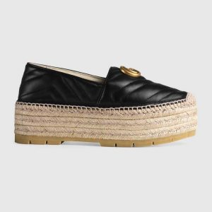 Gucci Women Chevron Leather Espadrille with Double G in 5.1 cm Height-Black