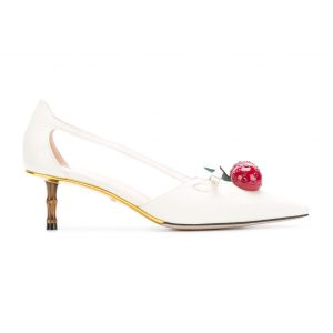 Gucci Women Leather Cherry Pump Shoes-White