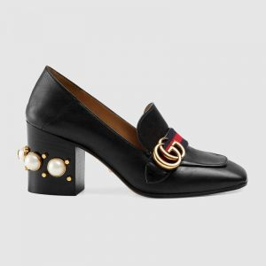 "Gucci Women Leather Mid-Heel Loafer 3"" Heel-Black"