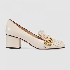 Gucci Women Leather Mid-Heel Pump 5.1 cm Heel-White