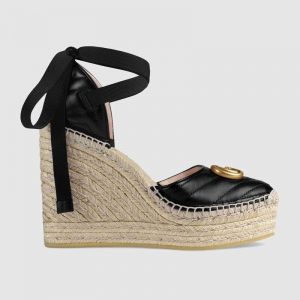 Gucci Women Leather Platform Espadrille 11.9cm Heel with 3.6cm Platform-Black