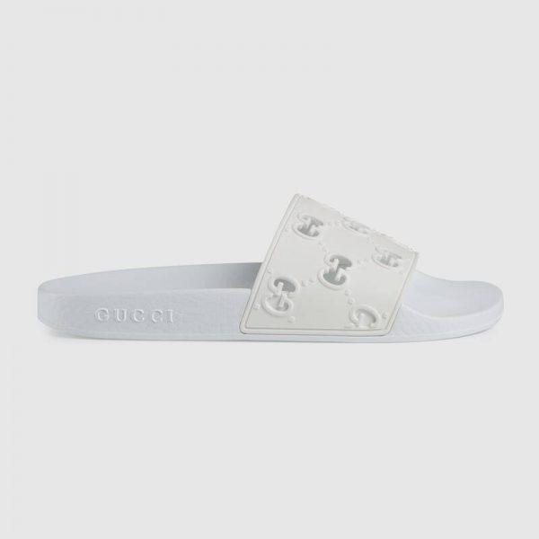 Gucci Women's Rubber GG Slide Sandal-White