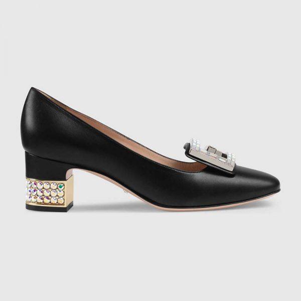 Gucci Women Shoe Leather Mid-Heel Pump with Crystal G 50mm Heel-Black