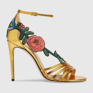 Gucci Women Shoes Embroidered Leather Mid-Heel Sandal 100mm Heel-Yellow