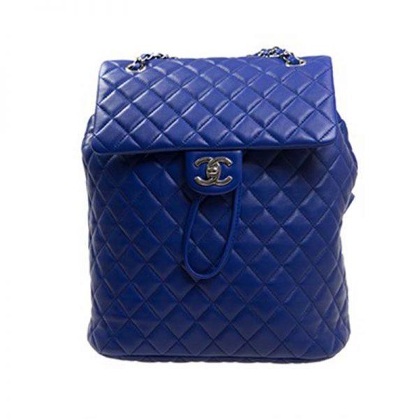 Chanel Women Backpack in Embossed Diamond Pattern Goatskin Leather-Purple