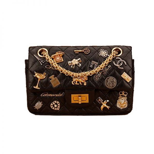 Chanel Women Badge Chain Bag in Calfskin Leather-Black