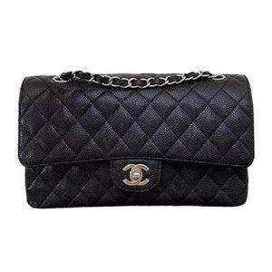 Chanel Women CF Flap Bag in Diamond Pattern Calfskin Leather-Black