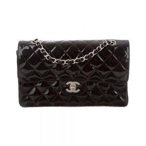 Chanel Women CF Flap Bag in Diamond Pattern Patent Calfskin Leather-Black