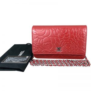 Chanel Women Camellia Flower Wallet On Chain in PVC Bag-Red