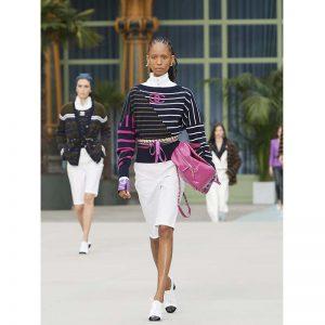 Chanel Women Cashmere Navy Blue Fuchsia Khaki & White Pullover
