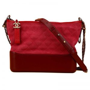 Chanel Women Chanel's Gabrielle Small Hobo Bag in Chamois Leather-Red