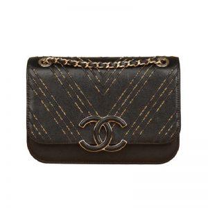 Chanel Women Flap Bag in Calfskin Leather Chain Bag-Black